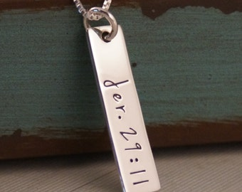 Hand Stamped Necklace - Personalized Jewelry - Custom Name Tag - Vertical Tag Necklace - My Favorite Bible verse