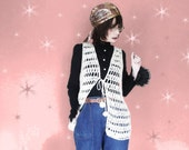 Vintage Long Boho Hippie Vest - 70s Open Crochet - Hippie Clothing