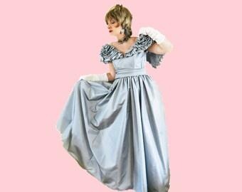 Vintage Taffeta Ball Gown - 70s Victor Costa BallGown - Full Skirt Formal - S