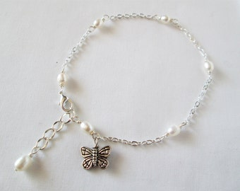pearl anklet, butterfly  anklet, pearl ankle bracelet, butterfly ankle bracelet, Spring 2017 fashion trends, Great gift idea