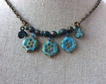 Rustic Coin Statement Necklace -NSC-125
