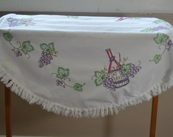 Vintage Round Table Cloth with Embroidered Wine Bottles and Grapes and a Fringe Edging