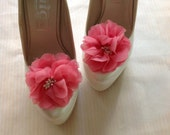 prom,FOR graduations dress shoe, FOR homecoming shoe,  prom shoe Chiffon Floral Shoe buckle - pink