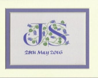 Custom Wedding initials with bluebells Wedding Gift Anniversary Gift.
