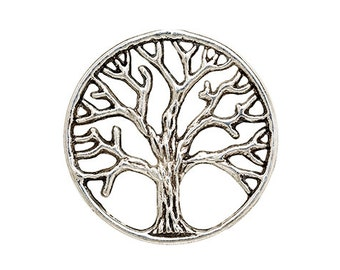 1 Tree of Life Charm Disc Plate 20mm Silver for Living Memory Locket H344