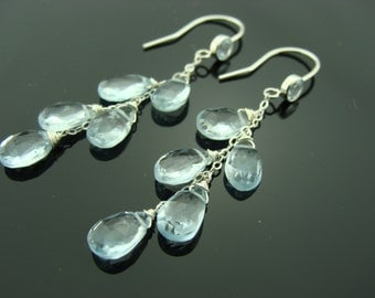 Sky Blue Topaz Cascade Sterling Silver Dangle Earrings