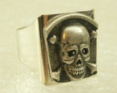 Skull and Crossbones Tombstone Ring Biker Gothic Adjustable Silver plated
