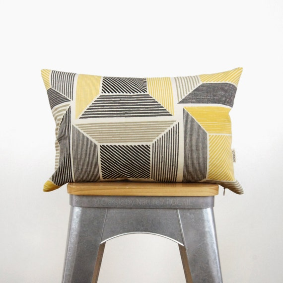 Geometric Pillow Case in Mustard Yellow, Gray, Ecru and Natural | Graphic Pattern 12x18 Lumbar Cushion Cover | Mid Century Modern Decor