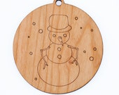 personalized snowman christmas ornament // wooden ornament // holiday decoration