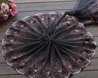 2 Yards Lace Trim Exquisite Flowers Embroidered Tulle Lace 9.44 Inches Wide High Quality