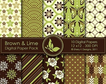 50% off Brown & Lime Paper Pack - 10 Digital papers - 12 x12 - 300 DPI