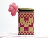 French Vintage Tin Canisters - 1930s -Lustucru Checked pattern- Shabby Chic containers .Red Kitchen Decor .Coffee container