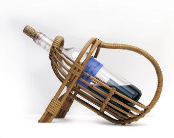 1950 French Wine Bottle Basket Holder, french rattan bottle holder, riviera style