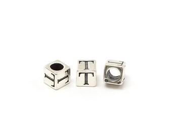 Alphabet Beads Sterling Silver 6mm Alphabet Blocks T - 1pc (3213)