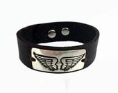 Angel Wing Bracelet - Leather Cuff Bracelet - Leather Silver Bracelet - Sterling Silver Cuff Bracelet - Angel Wings Jewelry - Angel Wing