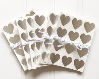 48 Metallic Silver Heart Shaped Label Stickers (.75 inches) - Valentine's Day, Weddings, Labels, Packaging, Gift Wrap, Scrapbooking, etc.