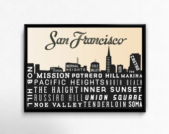 San Francisco Skyline - San Francisco Poster - San Francisco Ca - San Francisco Print - Retro - Home Decor - Golden Gate Bridge Print