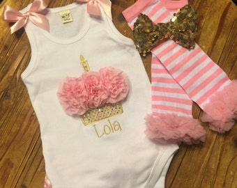 1st Birthday Girl Outfit - First Birthday Set - Cupcake Creeper - Personalized Cupcake Ruffle Bottom Creeper -Cake Smash Set