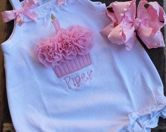 1st Birthday Set - Bubble Romper - Personalized Birthday Bubble Romper -  Cupcake Bubble Romper