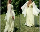70s Sylvia Ann Yellow Chiffon Sheer Angel Sleeve BOHO Hippie Festival Maxi Dress sz XS S