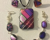 Reserved for Debbie: custom dichroic glass jewelry set