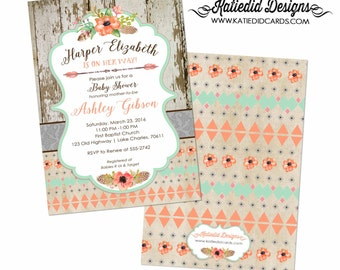 tribal baby shower invitation BOHO bridal shower wedding arrows feathers wood gender neutral gender reveal item 1445 shabby chic invitations