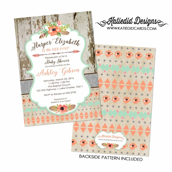 rustic shower invitations gender neutral | boho baby shower tribal invitation | mint coral invite | floral chic invite | 1445 Katiedid Cards