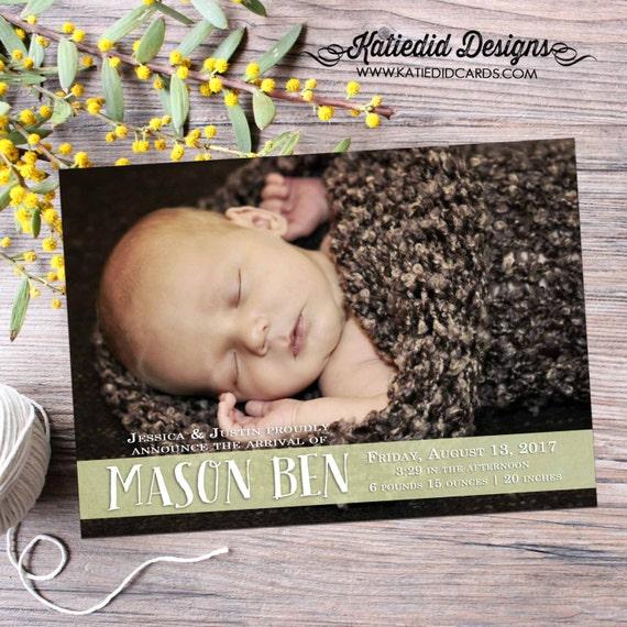 baby boy birth announcement photo printable digital file (item 424)