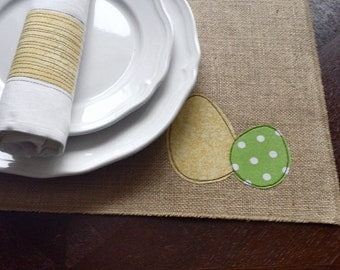 Burlap Easter placemats,  appliqued egg place mats, burlap place mats, table mat, easter table linen, easter placemats, bright, rustic