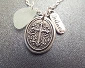 Scottish Sea Glass Necklace with Cross, Believe Charm and White Beach Glass, Christian Jewelry