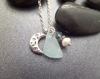 Moon and Star Necklace with Pastel Blue Scottish Sea Glass and Pearl, Scotland Jewerly.