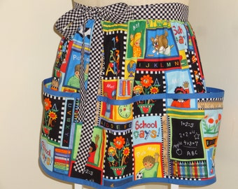 Teacher's Cotton Half-Apron with Lower Pocket Patchwork Fabric