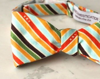Rainbow Stripe Bow Tie - Groomsmen and wedding tie - clip on, pre-tied with strap or self tying - LGBTQ Pride