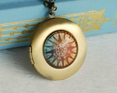 Gold Compass Locket Necklace, glass brass vintage style photo travel colorful nautical pendant birthday gift