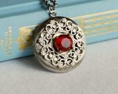 AS IS: Ruby Gemstone Locket Necklace, July birthstone garnet red Victorian vintage style pendant filigree wedding Anniversary Christmas gift