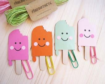 Popsicle Planner Clip, Popsicle Paper Clip, Planner Accessories, Stationery, Paperclips, Page Marker, Colored Popsicle Paper Clips