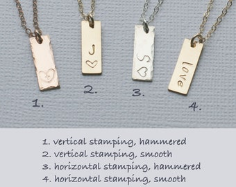 Add a Pendant, Hand Stamped Initial Bar, Name Bar, Custom Jewelry, Personalized Jewelry, Mothers Custom Bar, 14k GF, S/S, RG