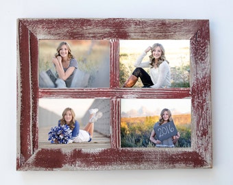 5x7 Red Rustic Picture Frame. Collage Frame. Window Frame. Shabby Chic Wall Decor. Senior 2016. Photo Collage. Rustic Home Decor. Wood Frame