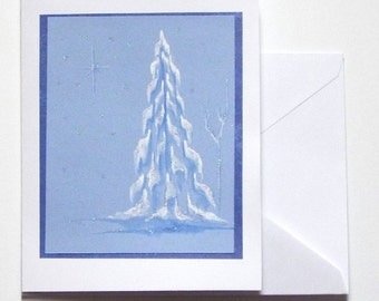 Greeting Card, Original Watercolor- Snowy Pine and Star Glittered