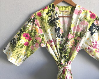 READY to SHIP Large Knee Length Kimono Robe. Kimono. Bridesmaids Robes. Bridal Robe. Modern Tokaido.