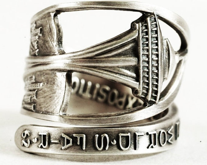 Seattle Ring, Space Needle, Sterling Silver Spoon Ring, Seattle Jewelry, Washington State Ring, Seattle Space Needle, Adjustable Ring (5812)