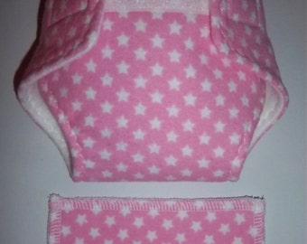 Baby Doll Diaper/wipe - tiny stars on pretty medium pink -  adjustable for many dolls such as bitty baby
