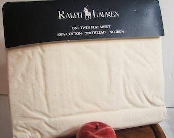 Vintage Ralph Lauren Twin Size Flat Sheet, AVERY in Cream, Ecru (NOS, Mint)