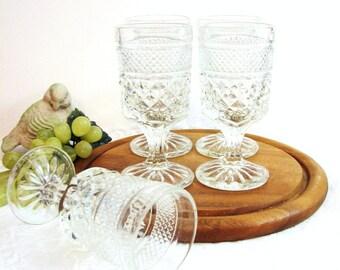 "Vintage Anchor Hocking WEXFORD Claret Wine Goblets, Cordials, Set of 6 ... Crystal Clear Pressed Glass Stemware 5 3/8"" ... Sherry, Barware"