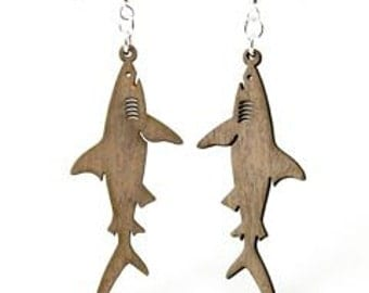 Great White Sharks - Laser Cut Wood Earrings