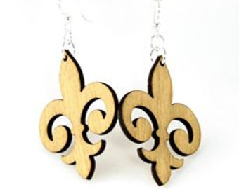 Fleur de Lis Earrings - Laser Cut Wood Earrrings