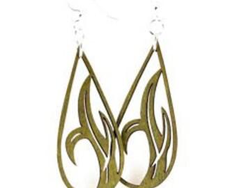 Grass Blade Drop - Wood Earrings