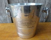 Vintage French ice bucket champagne Laurent Perrier Reims bar deco circa 1970-80's / English Shop