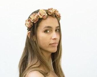 Rose Gold Crown. Gold Flower Crown, Gold, Autumn Flower Crown, Gold Crown, Gold Headpiece, Rose Flower Crown, Floral Crown, Autum Wedding