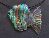 Turquoise headed Shimmering Tropical Fish in Dichroic Glass